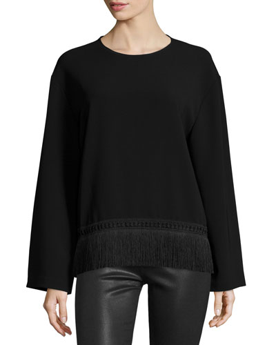 Riza Long-Sleeve Crepe Fringe-Trim Top, Black