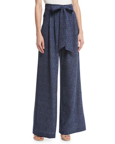 Milly Natalie Denim-Print Crepe Wide-Leg Pants
