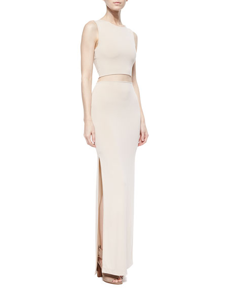 Side-Slit Jersey Maxi Skirt