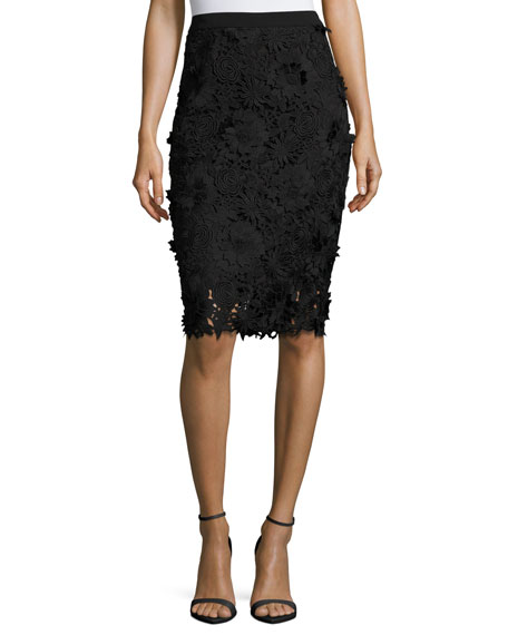 Milly 3D Floral-Embroidered Lace Pencil Skirt