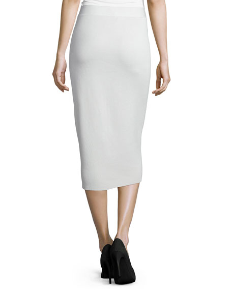 Silk Organic Cotton Interlock Pencil Skirt, Bone
