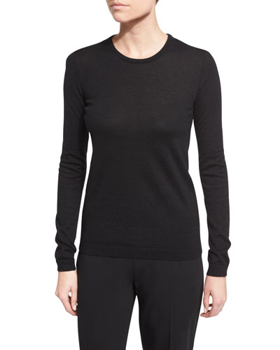 Long-Sleeve Cashmere Crewneck Sweater, Black Reviews