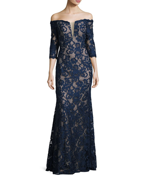 Jovani Off-the-Shoulder Beaded Floral Gown