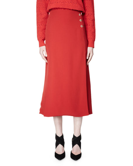 Lanvin Flared Woven Midi Skirt, Poppy Red