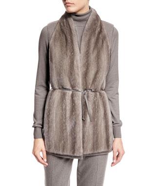 Loro Piana Double-Cashmere Vest W/Mink Front, Silver Myrtle/Shadow