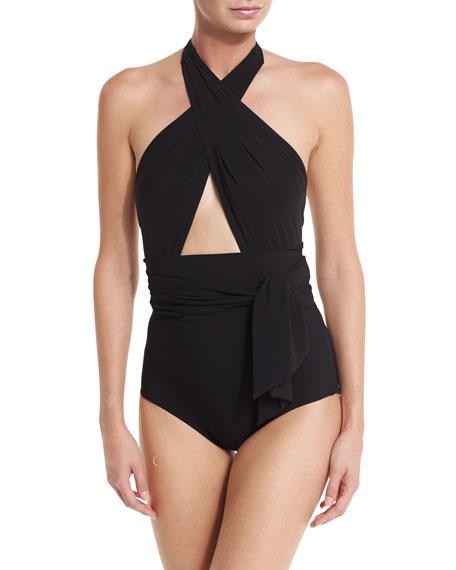Karla Colletto Prima Cross-Halter One-Piece Swimsuit