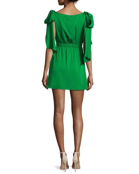 Allie Sleeveless Stretch-Silk Dress w/ Shoulder Bows, Emerald