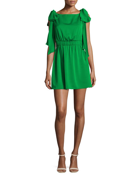 Milly Allie Sleeveless Stretch-Silk Dress w/ Shoulder Bows,
