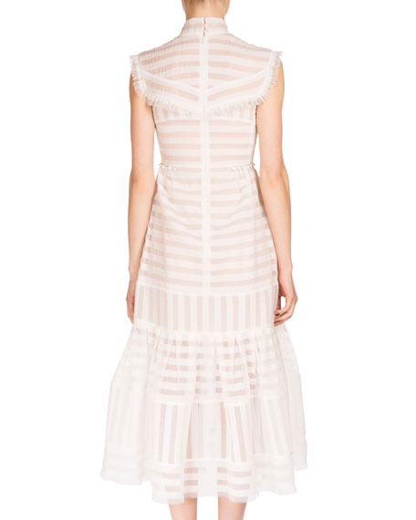 Abrielle Striped Mock-Neck Dress, White