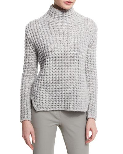 Popcorn-Knit Turtleneck Side-Split Sweater  Silver Gray