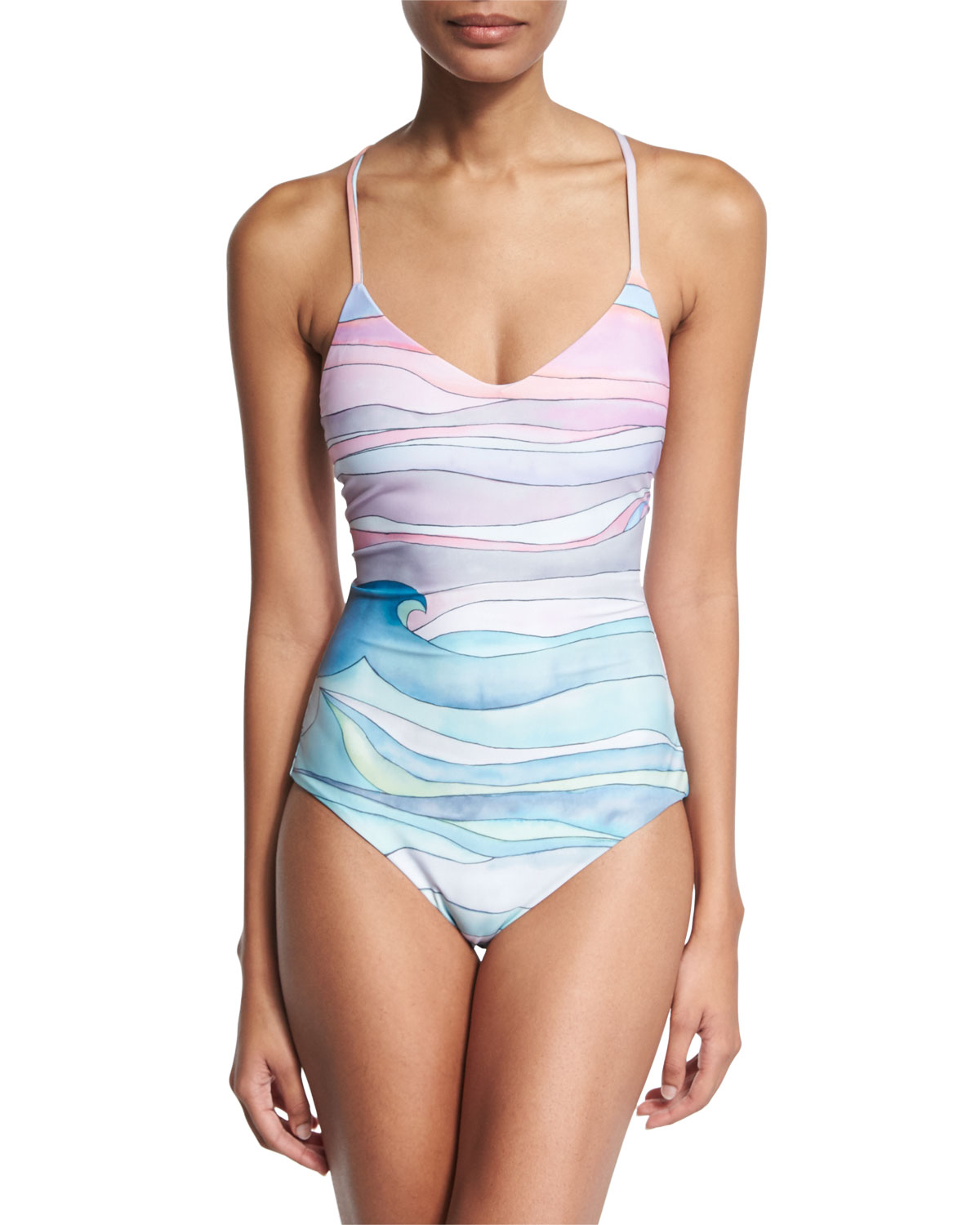 84d323013d6 Mara Hoffman Waves Lace-Up Maillot One-Piece Swimsuit | Neiman Marcus
