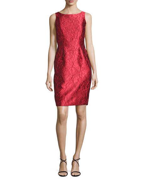 Carmen Marc Valvo Sleeveless Floral Brocade Sheath Dress,