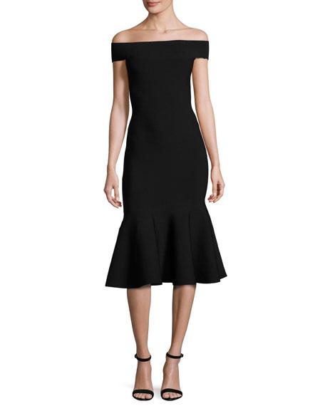 Milly Off-the-Shoulder Mermaid Midi Dress, Black