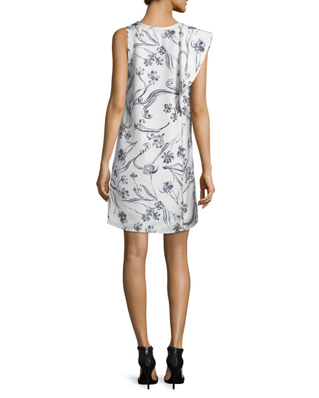 Sleeveless Draped Floral Silk Dress, Lilac/White