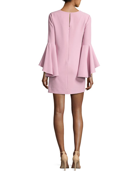 Nicole Bell-Sleeve Italian Cady Minidress, Light Pink