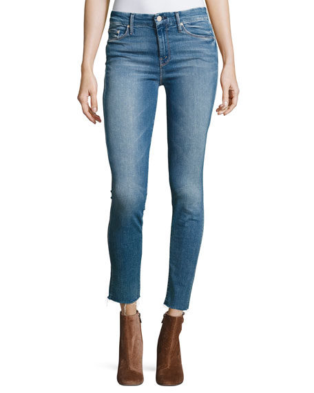 Mother Looker Ankle Fray Denim Jeans, Blue
