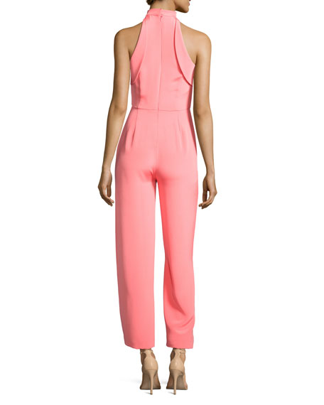 Folded-Trim Wide-Leg Cropped Jumpsuit, Pink