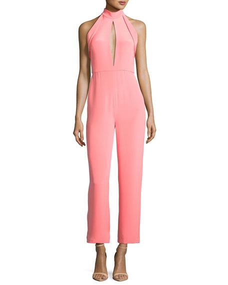 Folded-Trim Wide-Leg Cropped Jumpsuit, Pink
