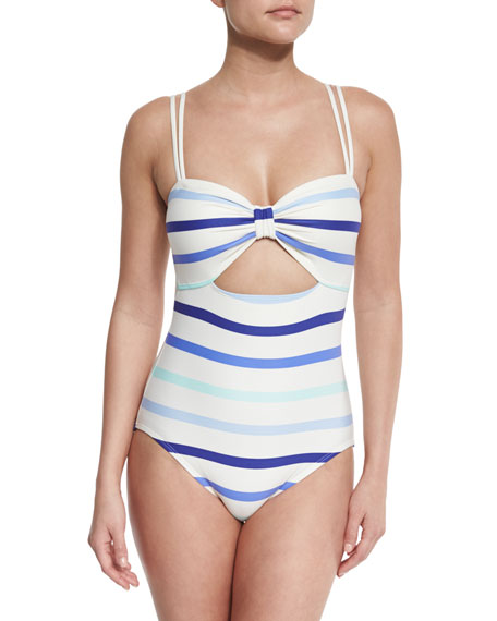 provincetown striped cutout one-piece swimsuit