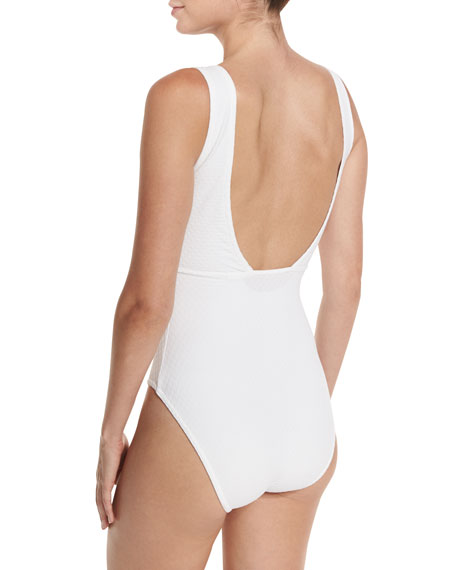 Delphine V-Neck Zip-Front One-Piece Swimsuit