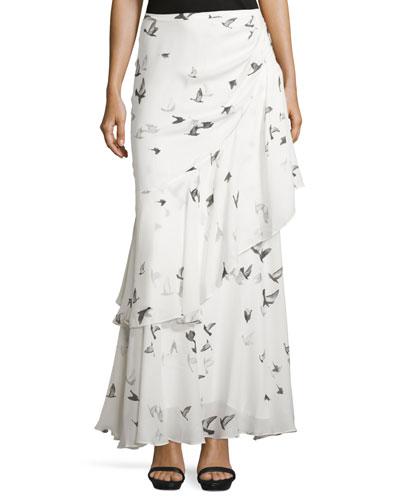 Cascading-Ruffle Maxi Skirt, Swan/Multi