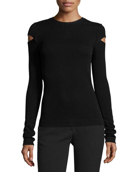Derek Lam Knit Slash-Sleeve Top, Black