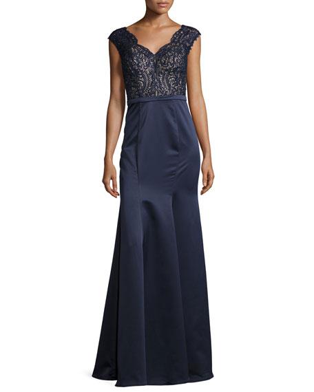 La Femme Cap-Sleeve Lace & Satin Combo Gown