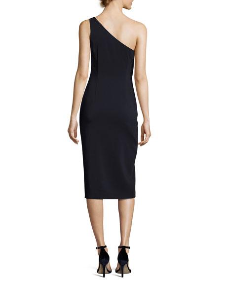 One-Shoulder Colorblock Sheath Dress