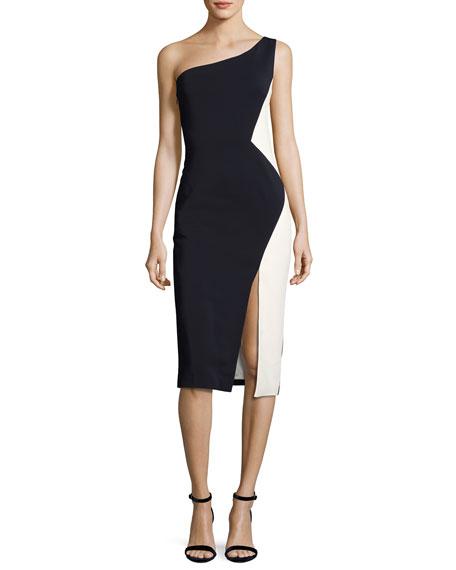 Cushnie Et Ochs One-Shoulder Colorblock Sheath Dress