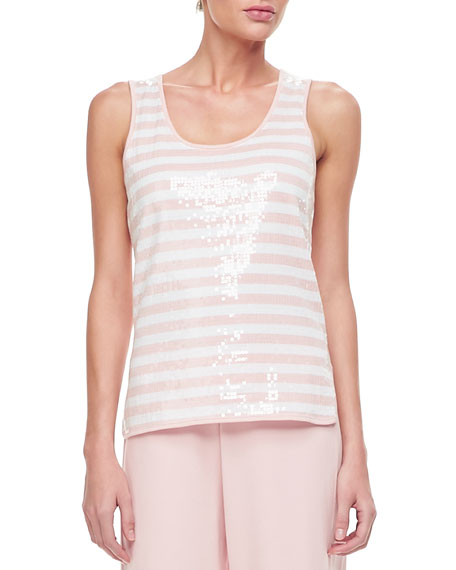 Joan Vass Sequin Stripe Tank, Plus Size