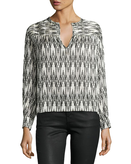 Isabel Marant Split-Neck Ikat-Print Blouse, White