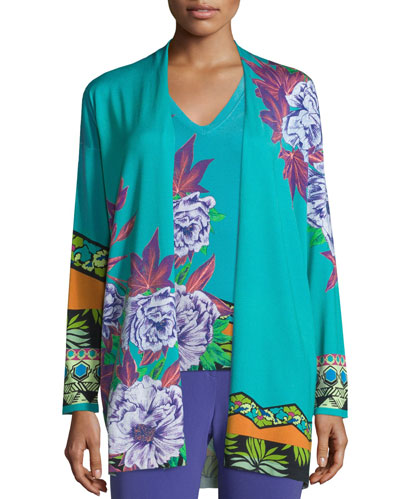 Open-Front Hawaiian Floral Cardigan, Blue
