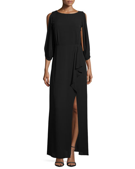 BCBGMAXAZRIA 3/4-Sleeve Faux-Wrap Dress with Sequined Back
