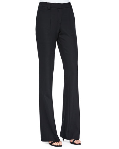Joseph Twill Boot-Cut Pants, Black