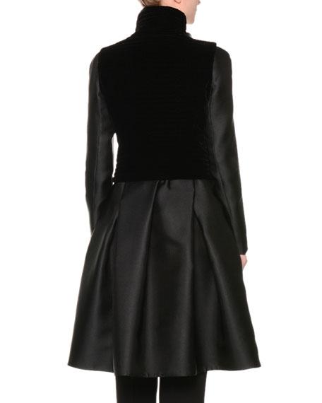 A-Line Bracelet-Sleeve Coat w/Velvet Vest, Black