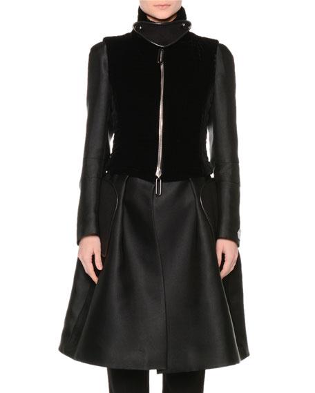 Giorgio Armani A-Line Bracelet-Sleeve Coat w/Velvet Vest, Black