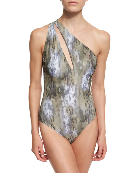 Shan One-Shoulder Camo-Print One-Piece Swimsuit