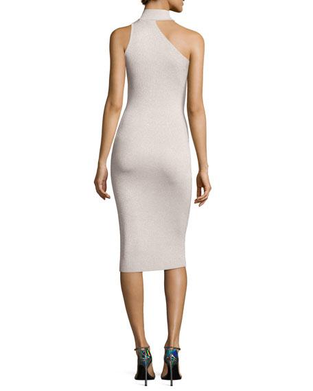 Metallic Knit Cold-Shoulder Dress