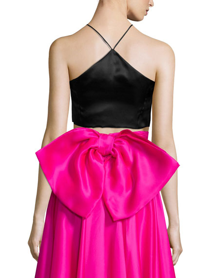 Satin Halter Crop Top