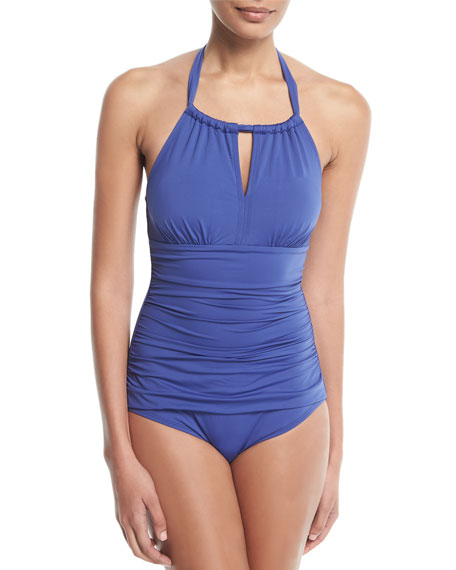 Tommy Bahama Pearl Solid Halter One-Piece Swimsuit