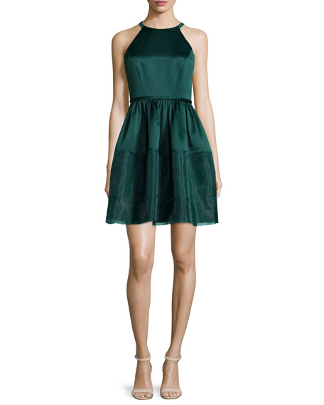 Erin Fetherston Jewel-Neck Fit-&-Flare Dress, Deep Jade
