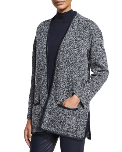 Leather-Trim Boucle Melange Knit Cardigan