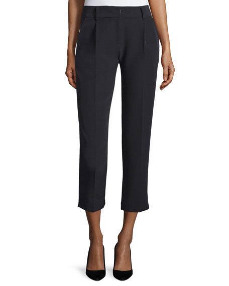 Nicole Pleated-Front Cropped Pants, Black