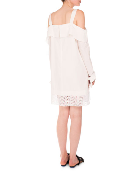 Cold-Shoulder Eyelet-Hem Dress