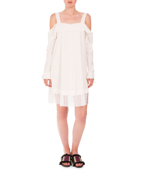 Proenza Schouler Cold-Shoulder Eyelet-Hem Dress