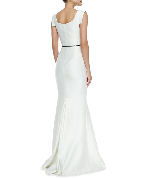 Asymmetric-Neck Mermaid Gown