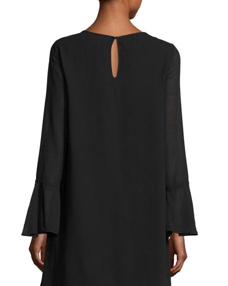 Long-Sleeve Bell-Cuff Shift Dress, Black
