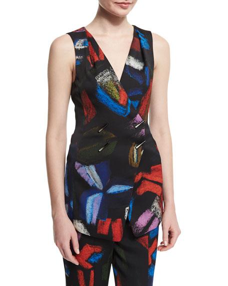 Armani Collezioni Double-Breasted Printed Envers Vest