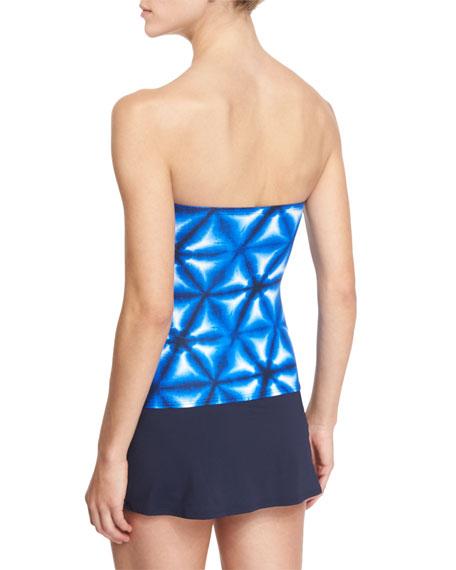 Luna Long Bar Printed Bandini Swim Top, Women's
