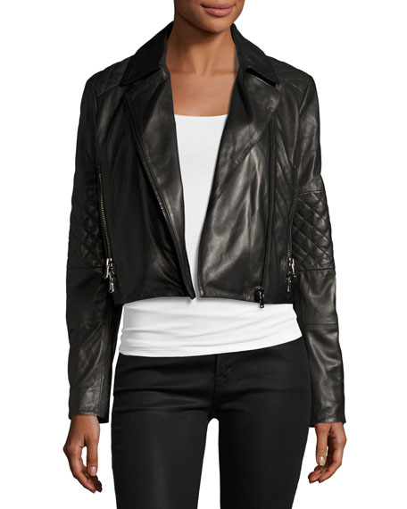 Adaire Leather Moto Jacket, Black